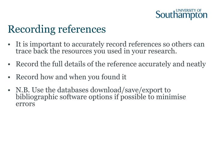 Recording references
