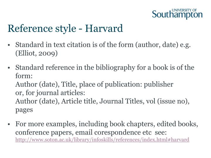 Reference style - Harvard
