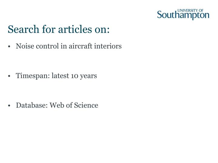 Search for articles on: