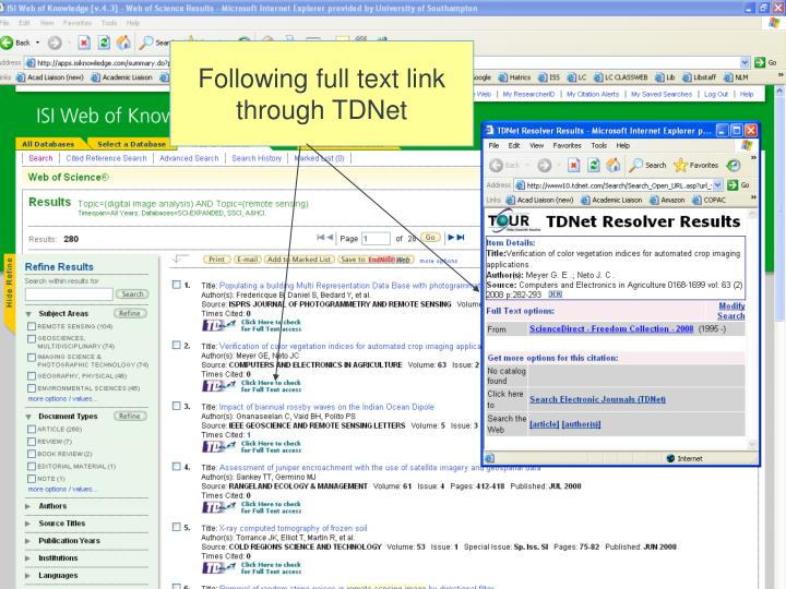 Following full text link through TDNet