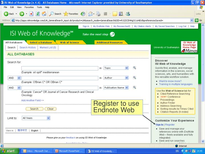 Register to use Endnote Web