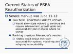 current status of esea reauthorization