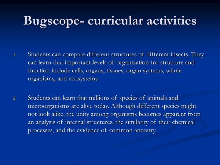 Bugscope- curricular activities