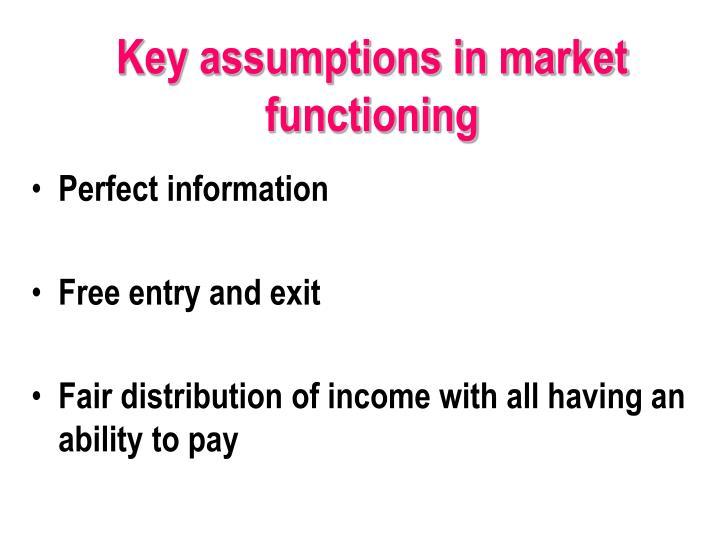Key assumptions in market functioning