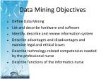 data mining objectives