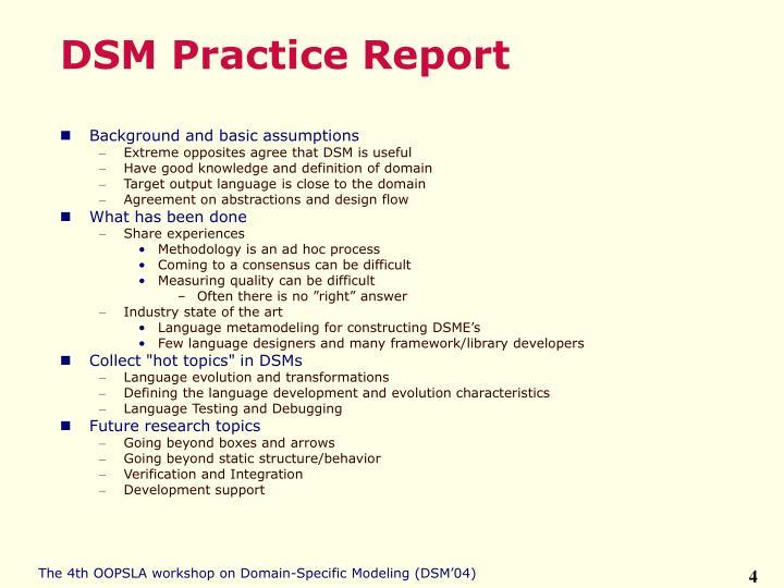 DSM Practice Report