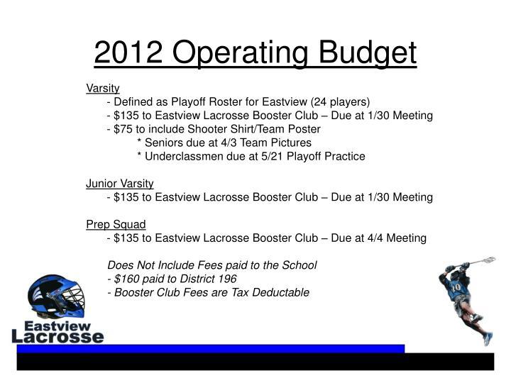 2012 Operating Budget