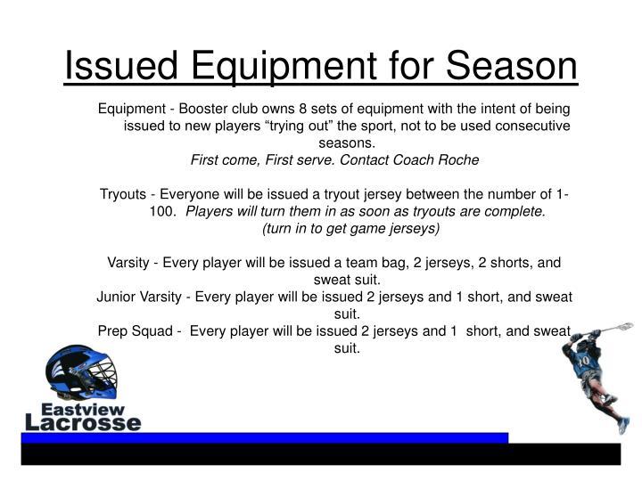 Issued Equipment for Season