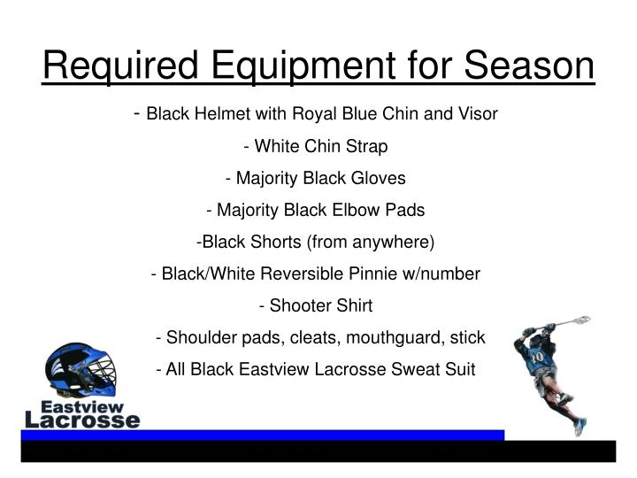 Required Equipment for Season