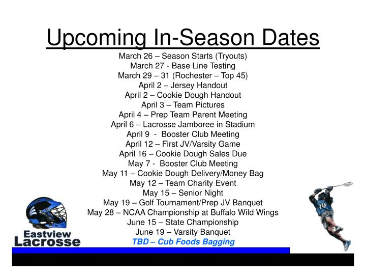 Upcoming In-Season Dates