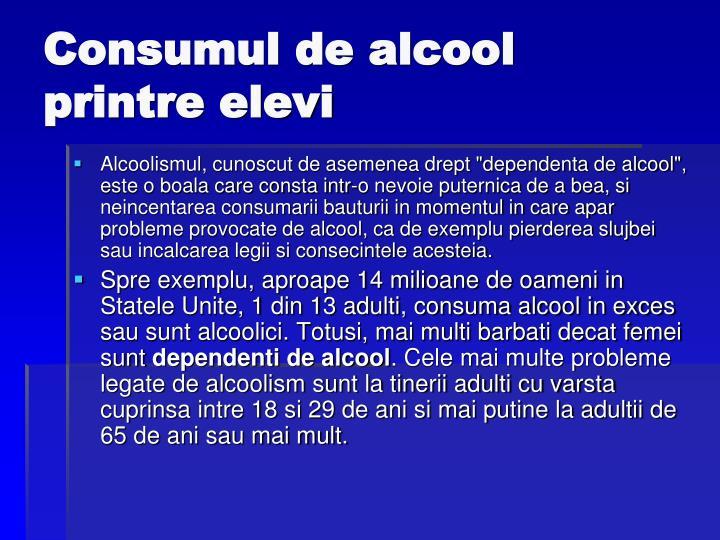 Consumul de alcool printre elevi