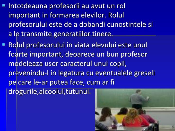 Rolul profesorilor in crearea unui stil de viata sanatos
