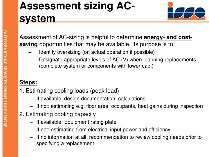 Assessment sizing AC-system