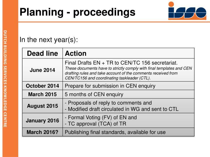 Planning - proceedings