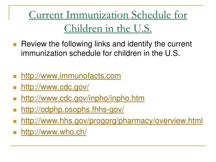 Current Immunization Schedule for Children in the U.S.