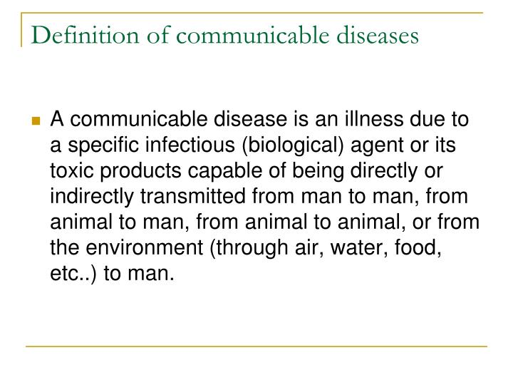 Definition of communicable diseases
