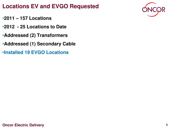 Locations EV and EVGO Requested