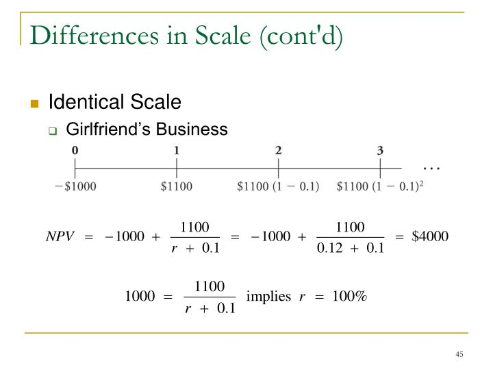 Differences in Scale (cont'd)