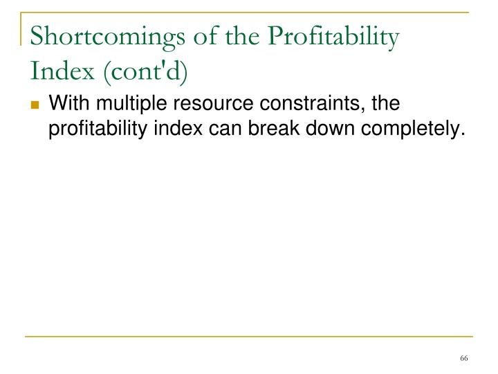 Shortcomings of the Profitability