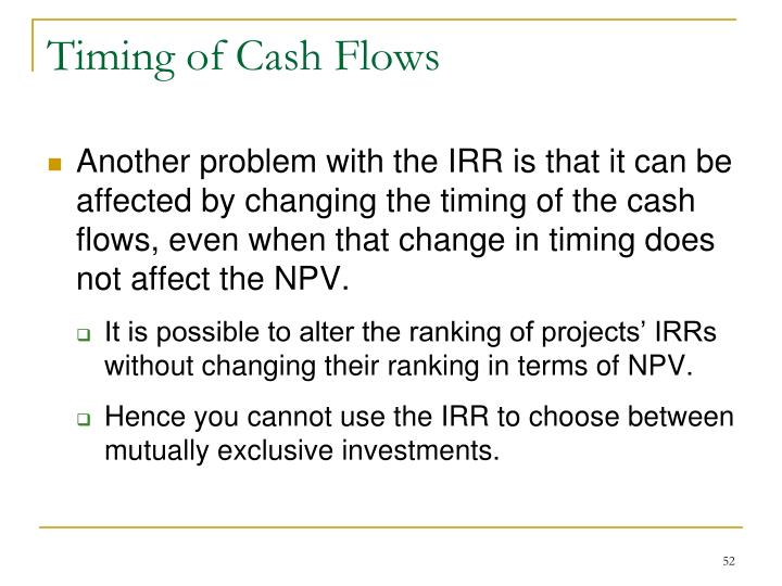 Timing of Cash Flows