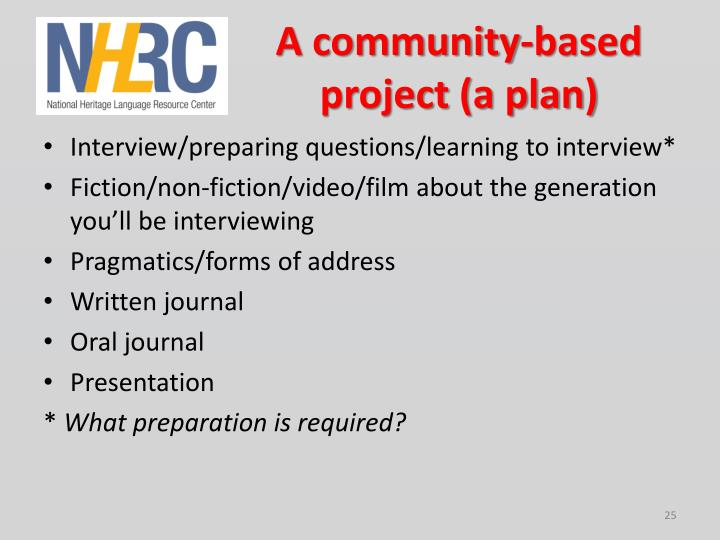A community-based project (a plan)