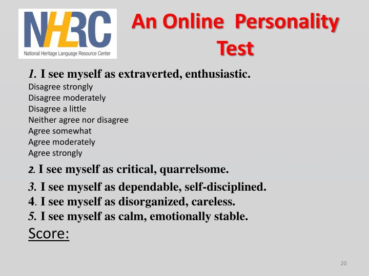 An Online  Personality Test