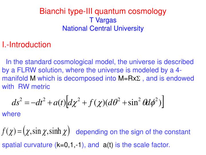Bianchi type iii quantum cosmology t vargas national central university