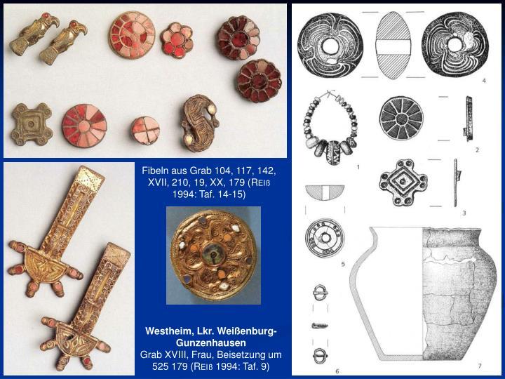 Fibeln aus Grab 104, 117, 142, XVII, 210, 19, XX, 179 (