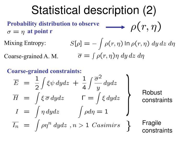 Statistical description (2)