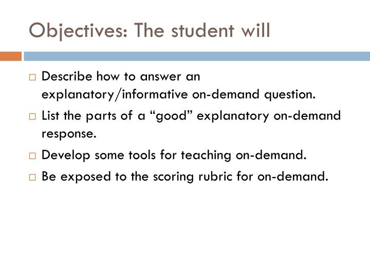 objectives the student will n.