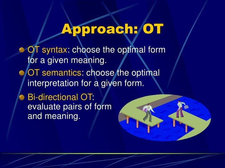 Approach: OT