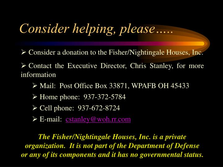 Consider helping, please…..