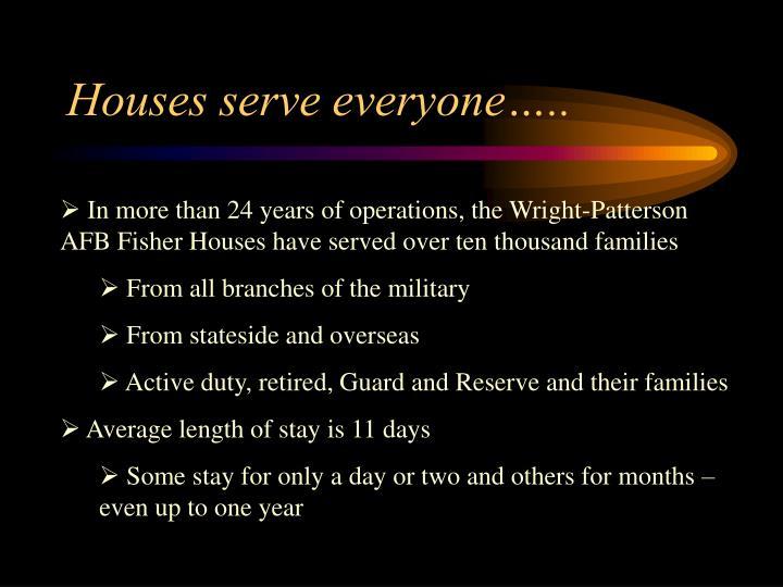 Houses serve everyone…..