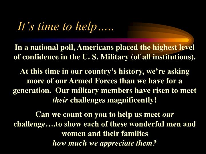It's time to help…..