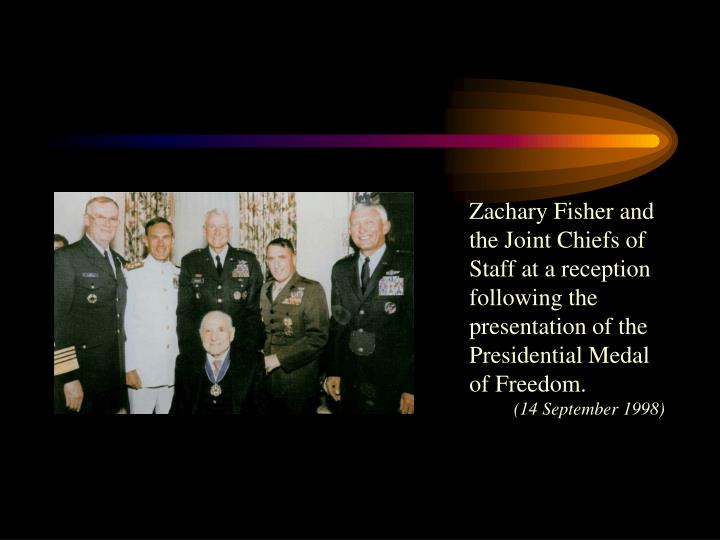 Zachary Fisher and the Joint Chiefs of Staff at a reception following the presentation of the Presidential Medal of Freedom.
