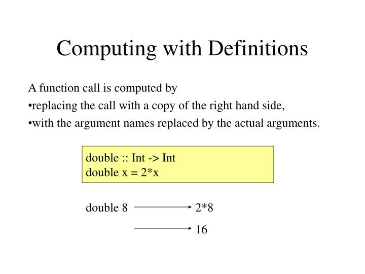 Computing with Definitions