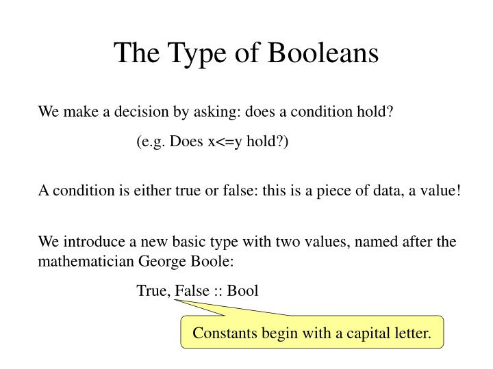 The Type of Booleans