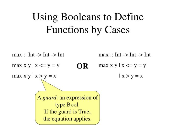 Using Booleans to Define Functions by Cases