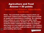 agriculture and food answer 50 points