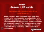 youth answer 20 points