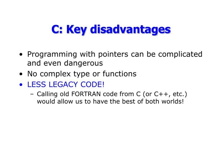 C: Key disadvantages
