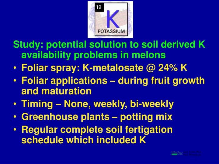 Study: potential solution to soil derived K availability problems in melons