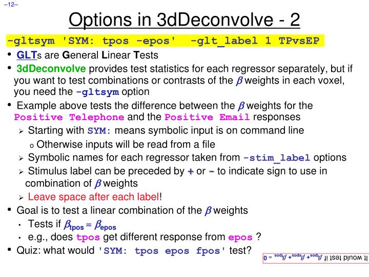 Options in 3dDeconvolve - 2