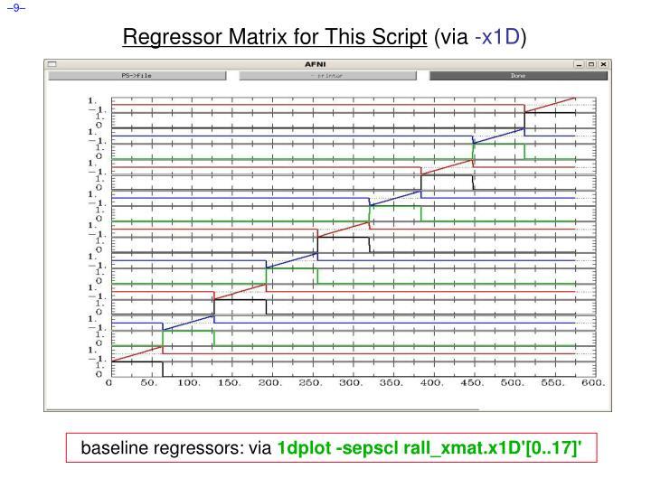 Regressor Matrix for This Script