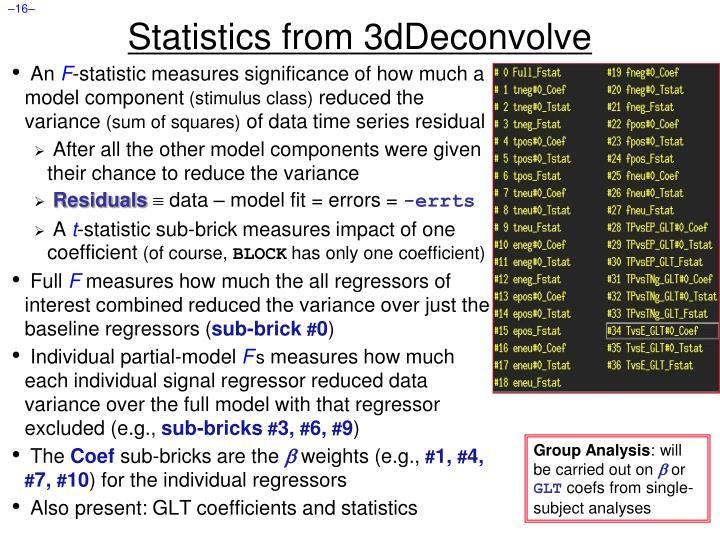 Statistics from 3dDeconvolve