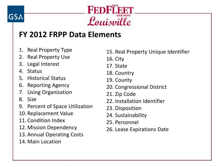 FY 2012 FRPP Data Elements