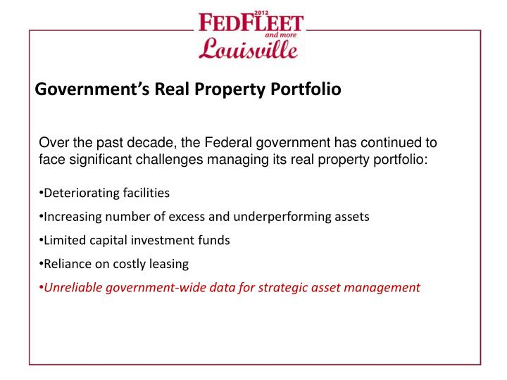 Government s real property portfolio