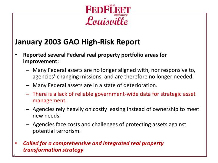 January 2003 GAO High-Risk Report
