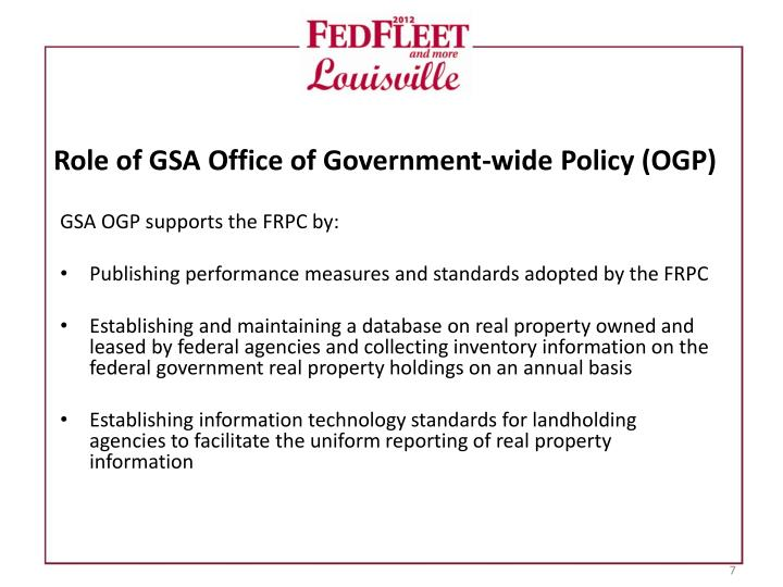 Role of GSA Office of Government-wide Policy (OGP)