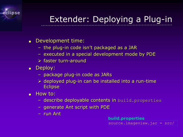 Extender: Deploying a Plug-in